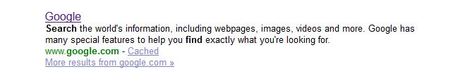 google meta description in Yahoo