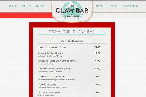 menu web nha hang don gian