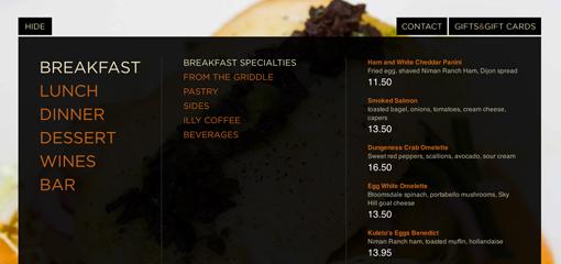 menu website nha hang truc quan