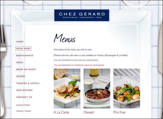 thiet ke website nha hang dep Chez gerard