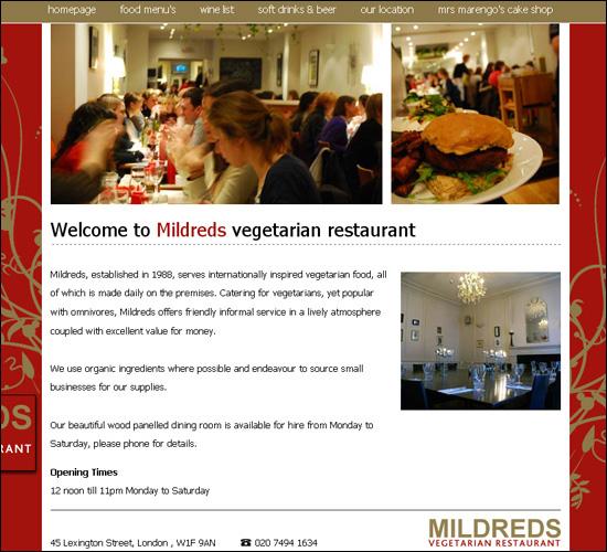 thiet ke website nha hang dep Mildreds
