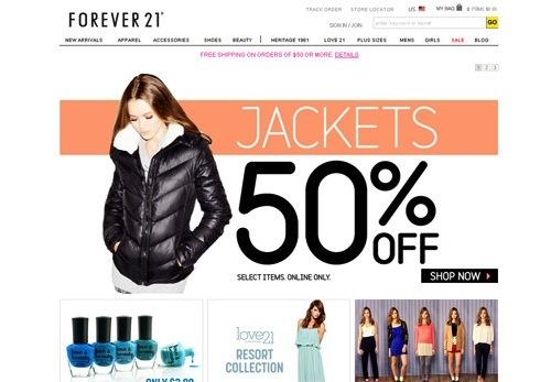 Homepage website thời trang forever21