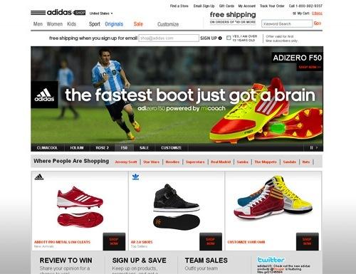 website thương mại điện tử của adidas