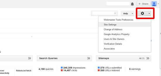 thiet lap site setting